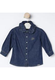 Camisa Jeans Com Termocolantes- Azul Escuro- Bakulelbakulelê
