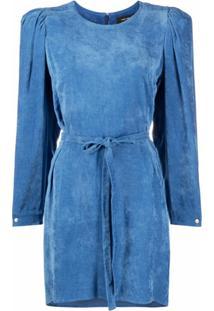 Isabel Marant Vestido Mangas Longas De Veludo Cotelê - Azul