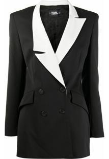 Karl Lagerfeld Blazer Com Abotoamento Duplo Studio Kl - Preto