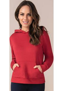Blusão Feminino Com Capuz Vermelho