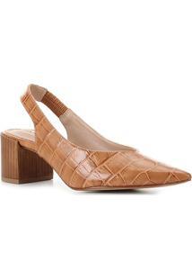Scarpin Couro Shoestock Slingback Salto Médio Croco - Feminino-Caramelo