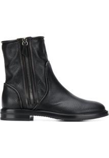 Casadei Ankle Boot Com Detalhes Perfurados - Preto