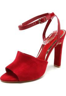 Sandália Di Cristalli Camurça Vermelha