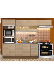 Cozinha Completa Madesa Marselha 8 Portas 3 Gavetas (Sem Tampo E Pia) Marrom