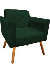 Poltrona Decorativa Elisa Linho Verde A49 Com Pés Palito - D'Rossi