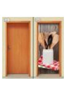 Adesivo Decorativo De Porta - Utensílios De Cozinha - 1327Cnpt