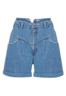 Bermuda Feminina Jeans Camila Com Dobra - Azul