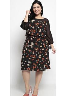 Vestido Floral- Preto & Laranja Escuro- Pianetapianeta
