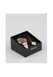Kit De Relógio Analógico Seculus Feminino + Colar - 28880L0Svna2K Dourado