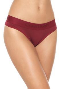 Calcinha Calvin Klein Underwear Tanga Logo Bordô