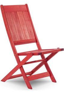 Cadeira Dobrável Sem Braço Acqualung Vermelha Mão E Formão