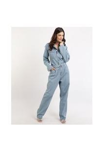 Macacão Jeans Feminino Mindset Com Cinto Manga Longa Azul Claro