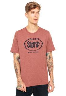 Camiseta Volcom Stick It Marrom