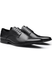 Sapato Sergio'S Derby Cap Toe Couro Masculino - Masculino-Preto