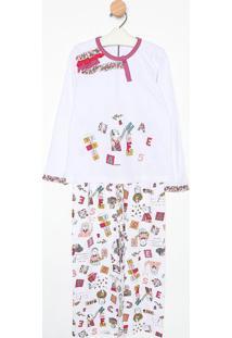 Pijama Manga Longa & Calã§A- Branco & Lilã¡Ssonhart