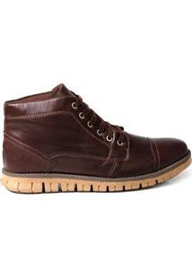 Bota Tchwm Shoes Coturno Cano Medio Couro Masculina - Masculino-Marrom