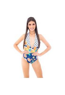 Body Moda Vício Frente Única Com Decote Estampa Concha