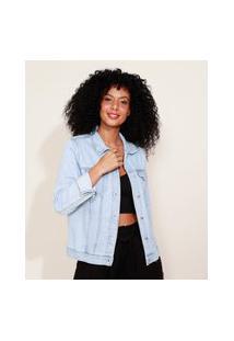 Jaqueta Jeans Feminina Com Bolsos Azul Claro