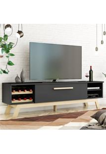 Rack Para Tv Vert Preto Natural Casah