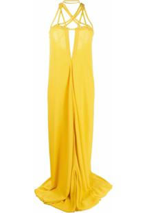 Rick Owens Vestido Longo Com Trançado Na Gola E Detalhe De Recortes - Amarelo