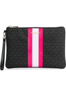 Michael Michael Kors Neon Stripe Clutch Bag - Preto