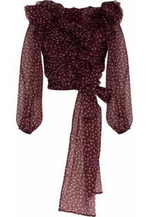 Dolce & Gabbana Blusa Em Chiffon De Seda Com Poás E Babados - Rosa
