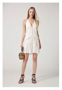 Vestido Curto Ponto Palito Off White