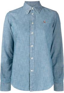 Polo Ralph Lauren Camisa Jeans Com Logo Bordado - Azul