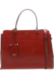 Bolsa Em Couro Com Bag Charm- Vermelho Escuro- 25X35Arezzo & Co.