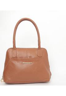 Bolsa Em Couro Texturizada- Marrom Claro- 24X31X12Cmdi Marlys