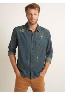 Camisa John John Destroyed Denim Azul Masculina (Jeans Medio, G)