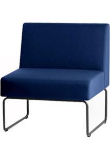 Poltrona Modular Pix Assento Courino Azul Base Aco Preto - 55303 - Sun House