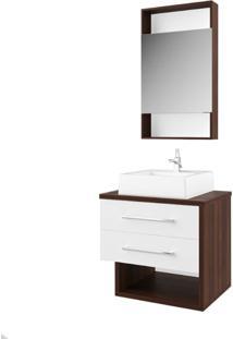 Gabinete Banheiro Compacto Suspenso Branco Lilies Mã³Veis - Multicolorido - Dafiti