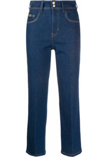 Versace Jeans Couture Calça Jeans Reta Cropped - Azul