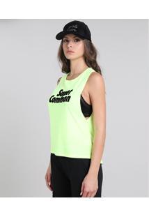 """Regata Feminina Cavada Mullet """"Super Common"""" Verde Neon"""