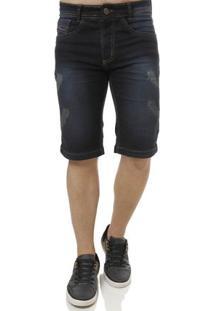 Bermuda Jeans Moletom Masculina Elétron Azul