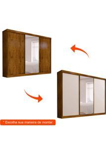 Guarda-Roupa Casal Com Espelho São Paulo Flex 3 Pt Canela E Off White