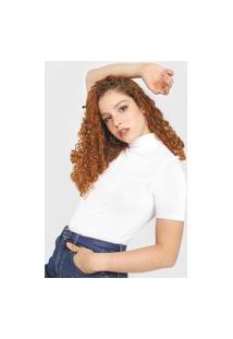 Blusa Calvin Klein Jeans Gola Rolê Branca