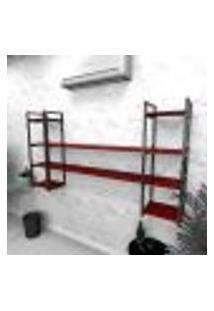 Estante Industrial Escritório Aço Cor Preto 180X30X98Cm Cxlxa Cor Mdf Vermelho Modelo Ind49Vres