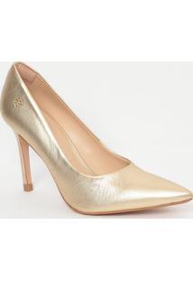 Scarpin Em Couro Metalizado- Dourado- Salto: 9,5Cmcapodarte