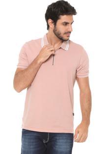 Camisa Polo Hering Zíper Rosa