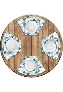 Jogo Americano Love Decor Para Mesa Redonda Wevans Green Triangle Kit Com 4 Pçs