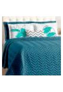 Cobre Leito Azul Marinho Clássico 7 Peças Casal Padrão Com Porta Travesseiros E Almofada Chevron Decorativa