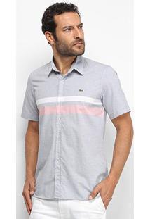 Camisa Lacoste Listras Bicolor Manga Curta Masculina - Masculino-Marinho
