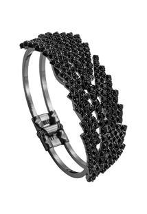 Bracelete Folhas Tudo Joias Com Zircônias Folheado A Ródio Black - Feminino-Preto