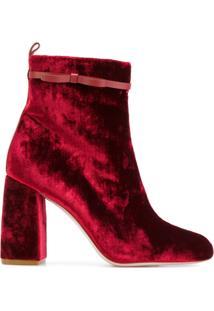 Red Valentino Ankle Boot De Veludo - Vermelho