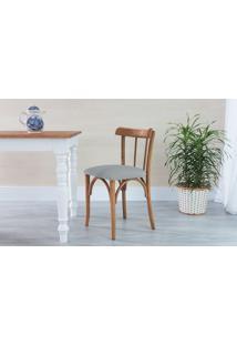 Cadeira De Jantar Estofada Justine - Stain Jatobá - Tec.915 Cinza Claro - 43X47,5X78,5 Cm