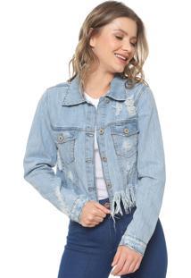 Jaqueta Jeans Lez A Lez Destroyed Azul