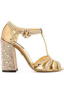 Dolce & Gabbana Sandália Com Tira Em T E Aplicação De Strass - Dourado