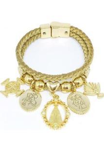 Pulseira Em Couro Alice Monteiro Detalhes De Medalhas Feminina - Feminino-Dourado